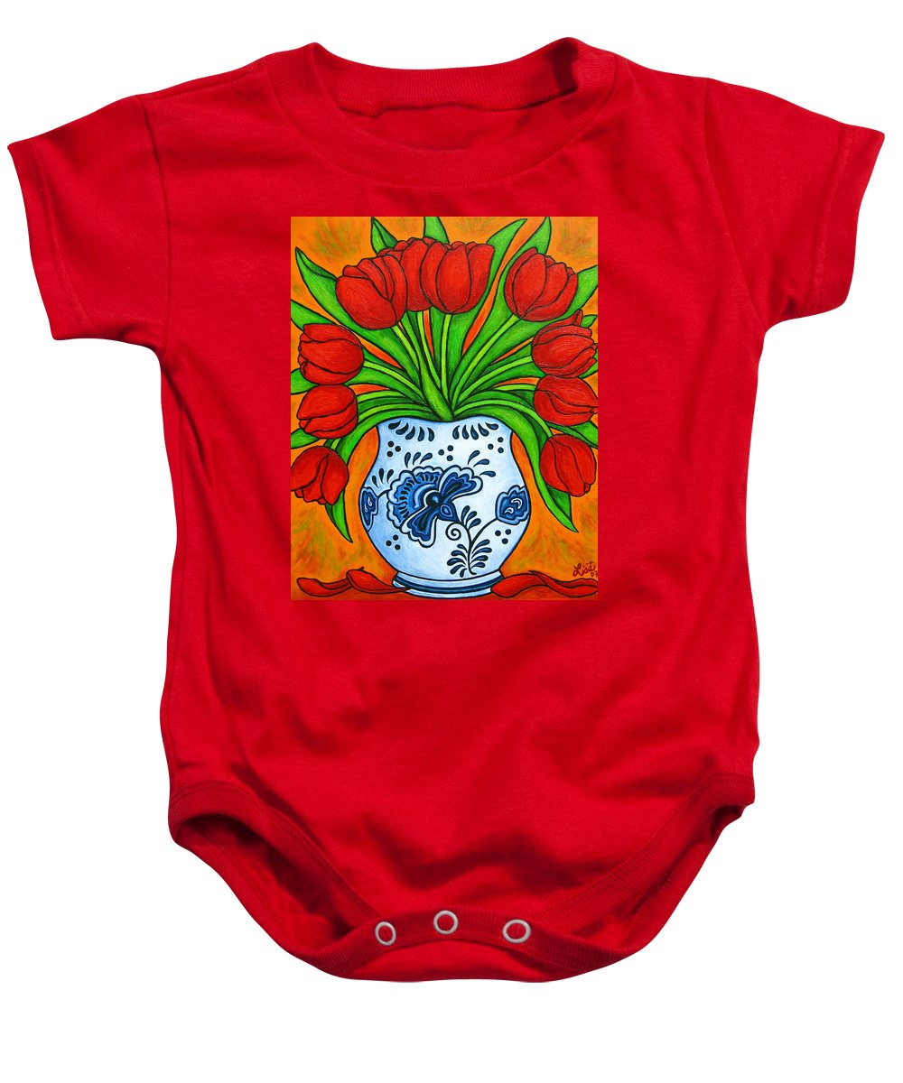 White Baby Onesie featuring the painting Dutch Delight by Lisa Lorenz