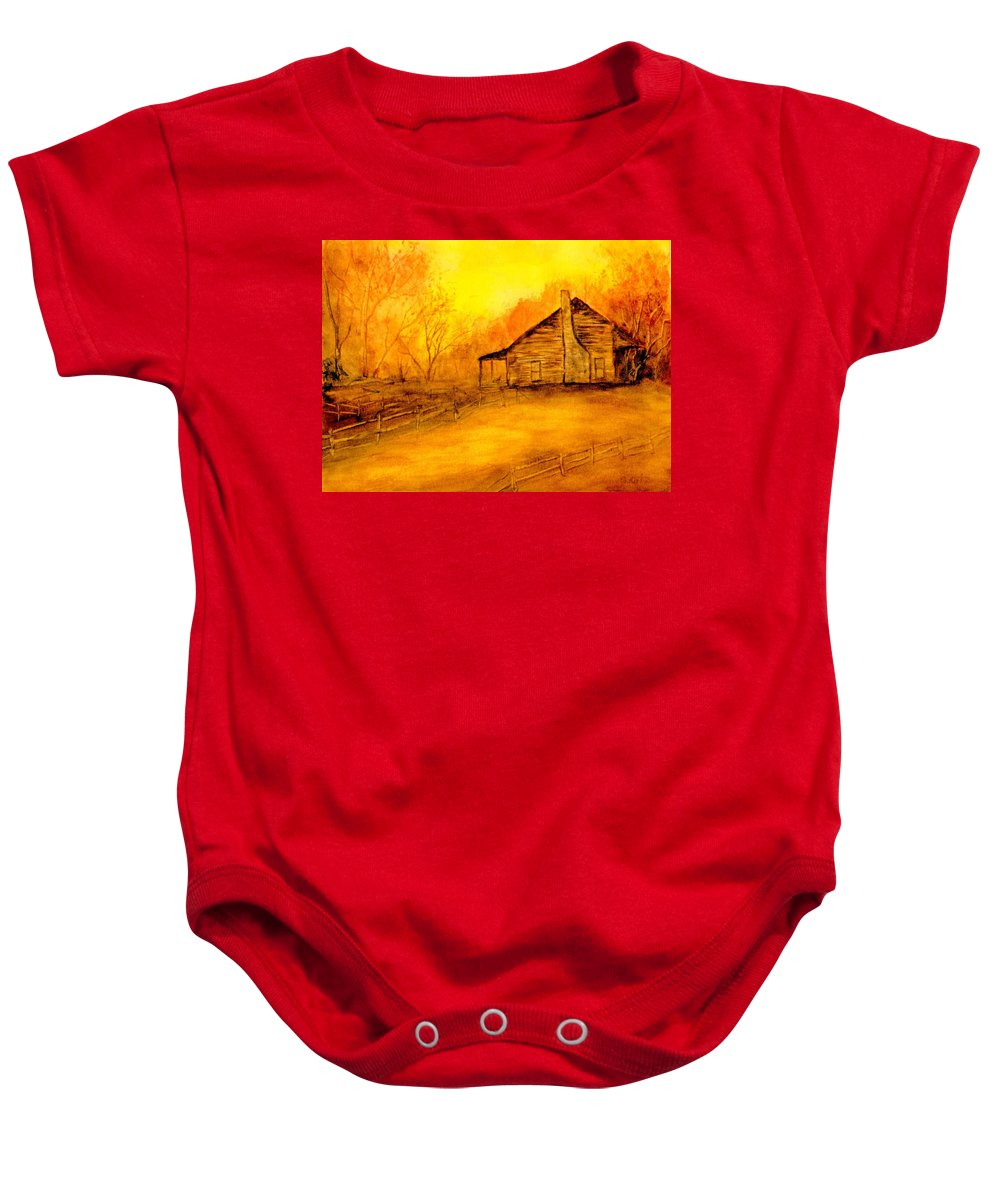 Cabin Baby Onesie featuring the painting Early Kentucky Times by Gail Kirtz