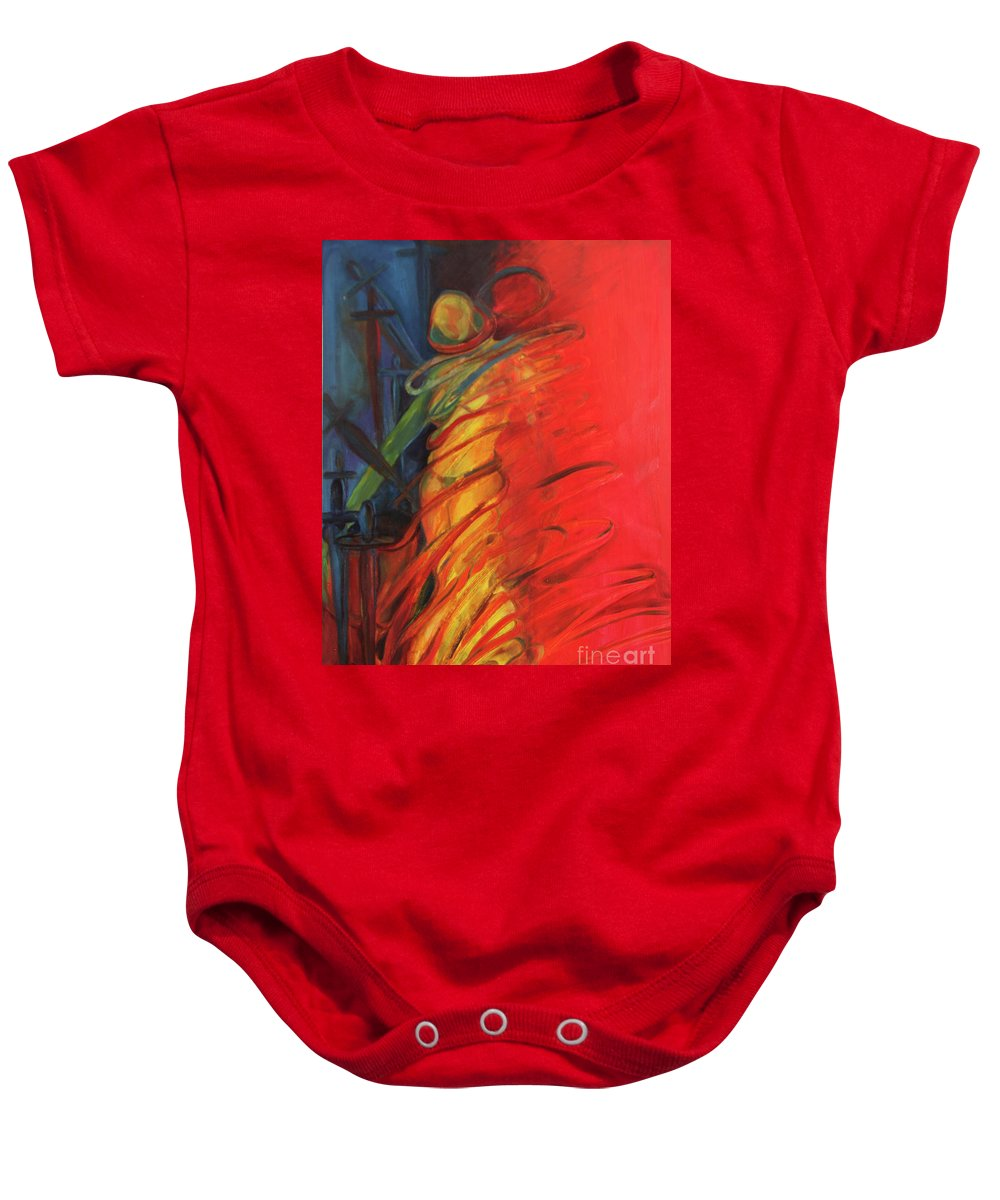 Oil Painting Baby Onesie featuring the painting Eight Of Swords by Daun Soden-Greene