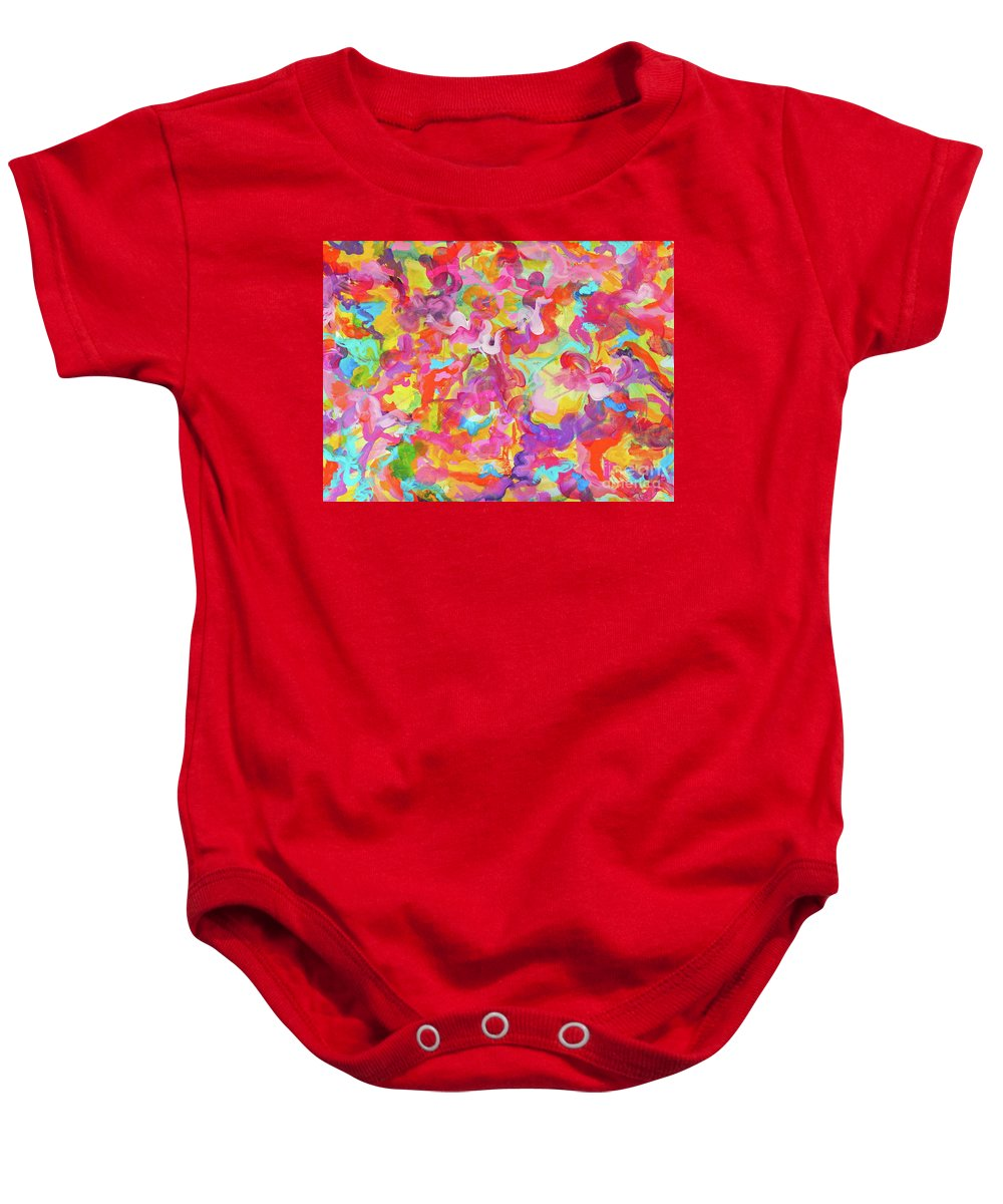 Bright And Colorful Baby Onesie featuring the painting Enchanted Garden by Expressionistart studio Priscilla Batzell
