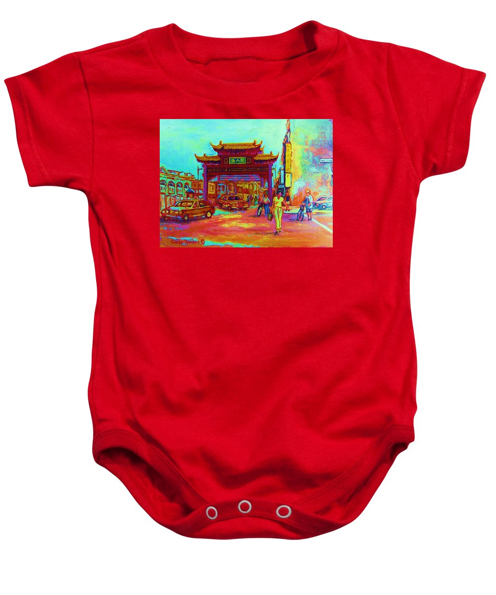 Montreal Baby Onesie featuring the painting Entrance To Chinatown by Carole Spandau