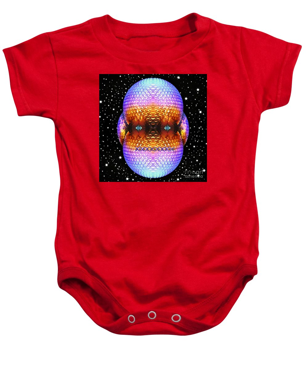 Stars Baby Onesie featuring the mixed media Epcot-Bot by Eric Liller