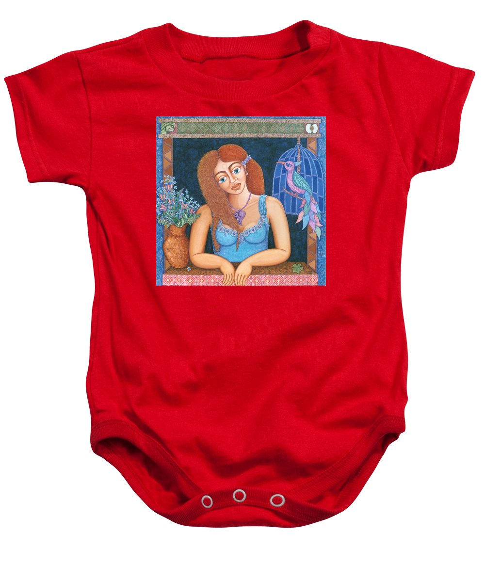 Eve Baby Onesie featuring the painting Eternal Eve by Madalena Lobao-Tello