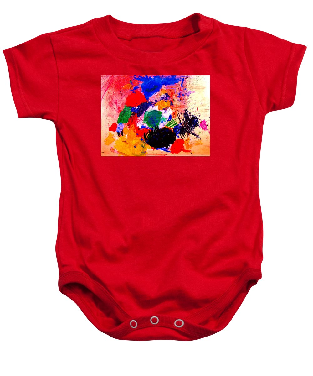 Abstract Baby Onesie featuring the painting Evolving Evolution by Natalie Holland