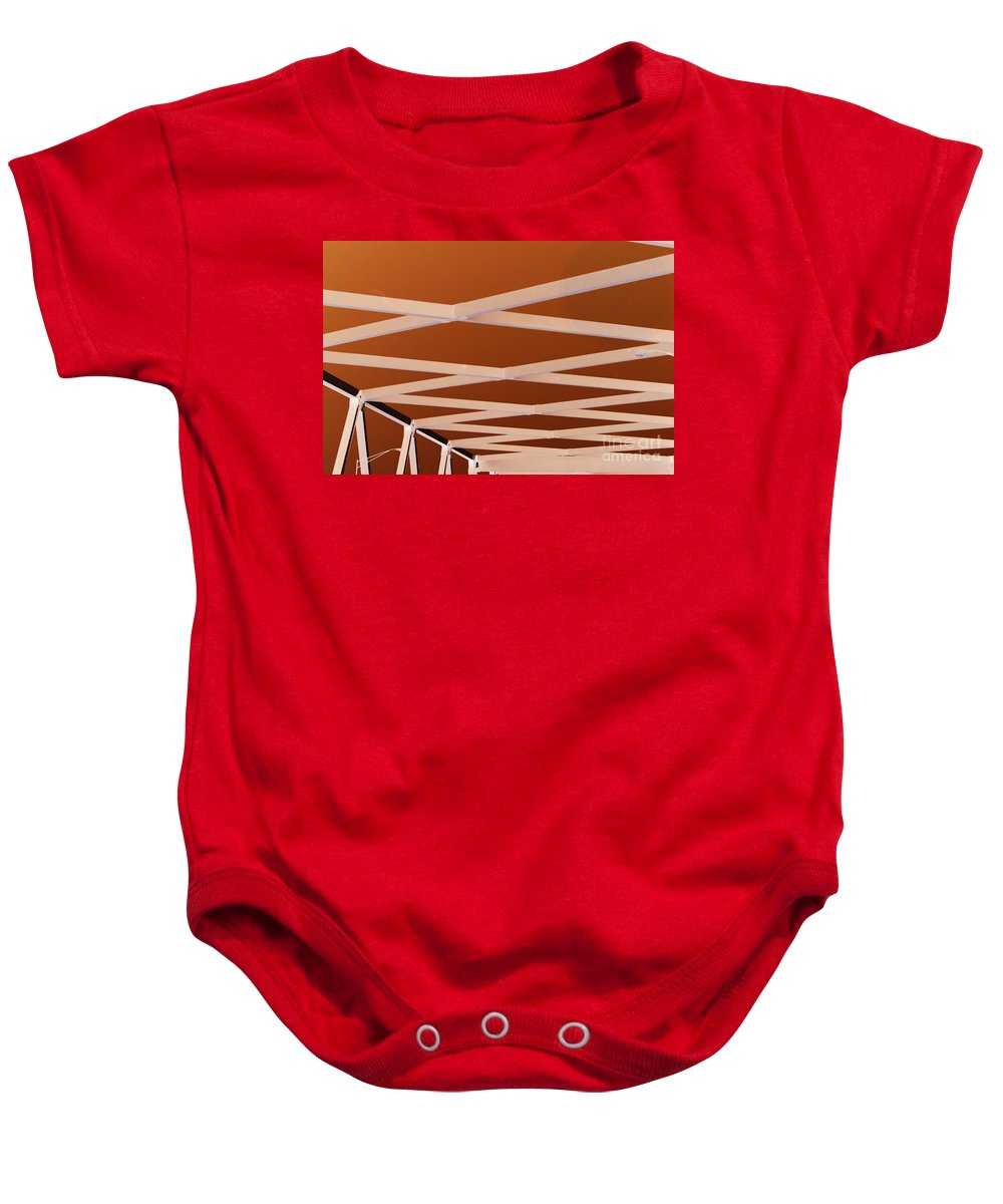 Bridge Baby Onesie featuring the photograph Exes- Red by Jamie Lynn