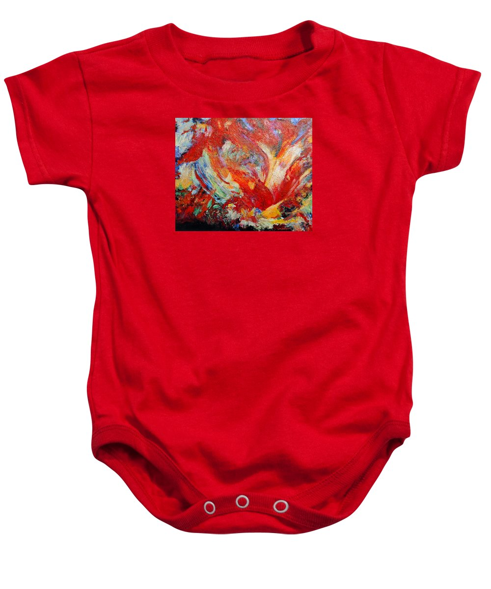 Abstract Baby Onesie featuring the painting Exuberance by Michael Durst