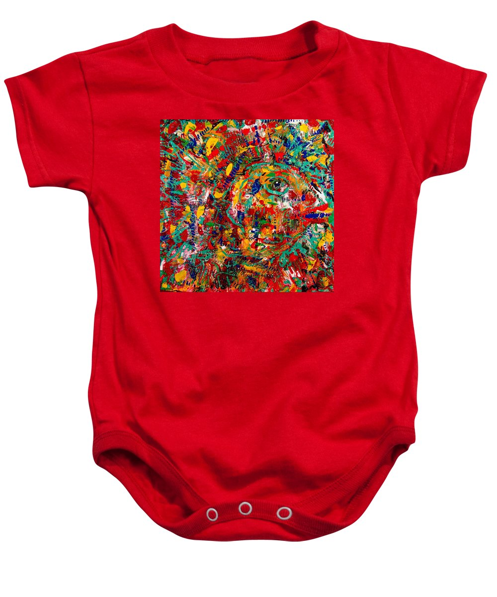 Abstract Baby Onesie featuring the painting Eye Of The Beholder by Natalie Holland
