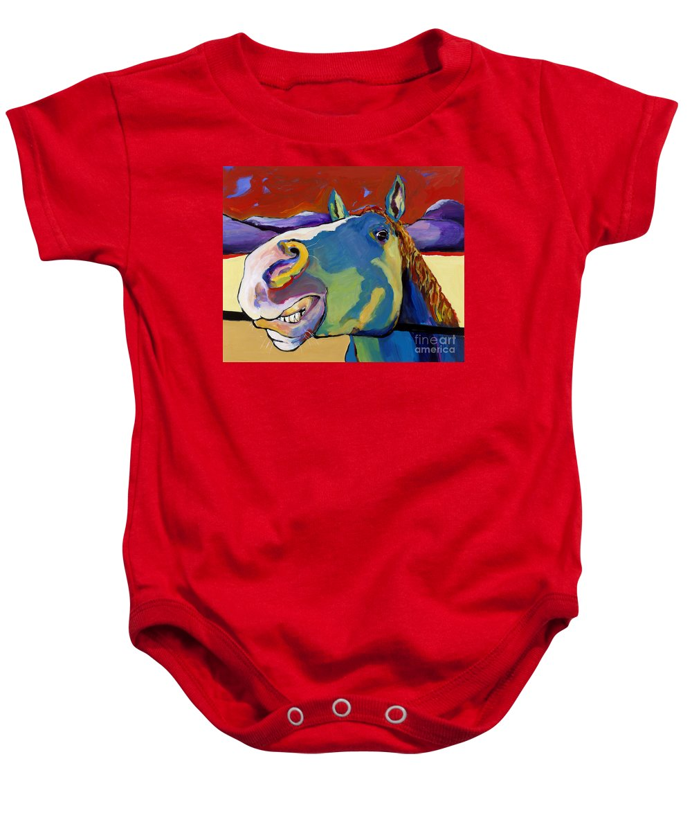 Animal Painting Baby Onesie featuring the painting Eye To Eye by Pat Saunders-White