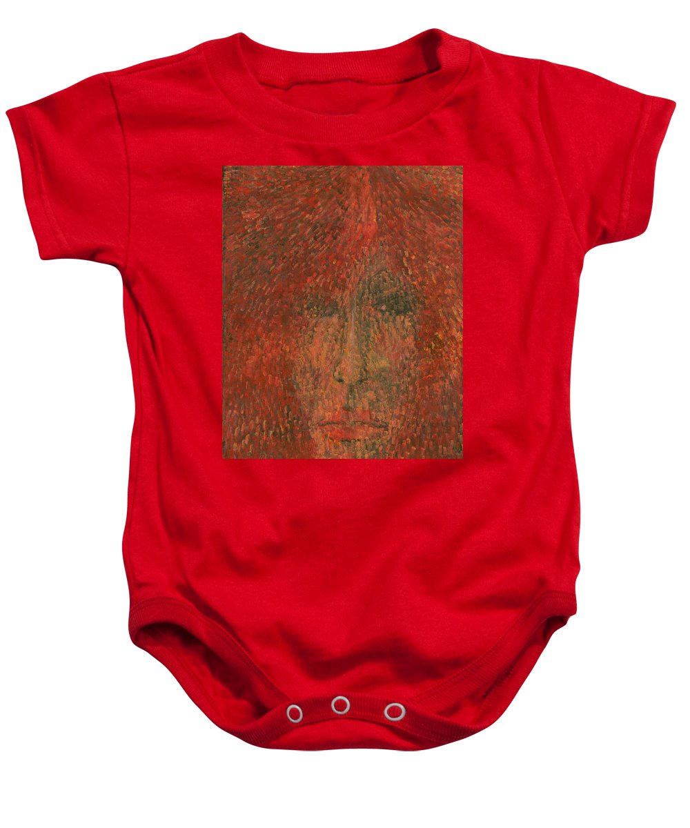 Colour Baby Onesie featuring the painting Face by Wojtek Kowalski