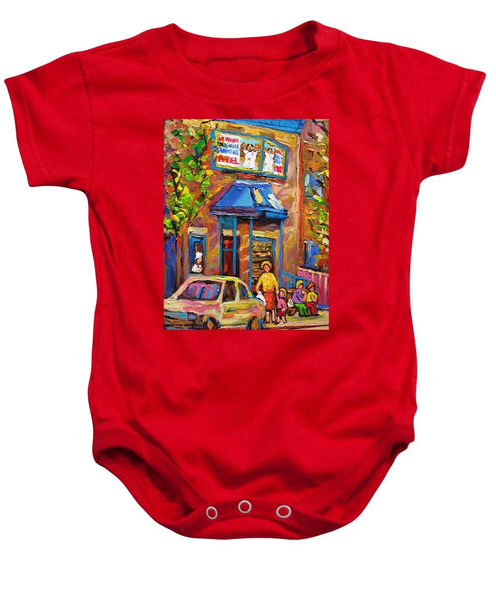 Fairmount Bagel Baby Onesie featuring the painting Fairmount Bagel Fairmount Street Montreal by Carole Spandau