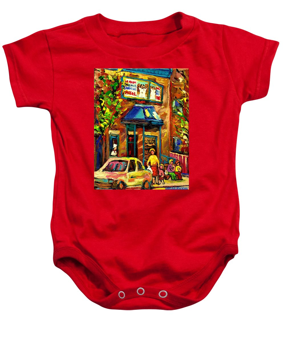 Fairmount Bagel Baby Onesie featuring the painting Fairmount Bagel In Montreal by Carole Spandau