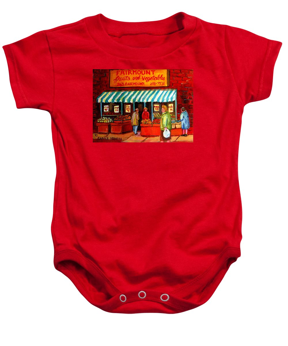 Fairmount Fruits And Vegetables Baby Onesie featuring the painting Fairmount Fruit And Vegetables by Carole Spandau
