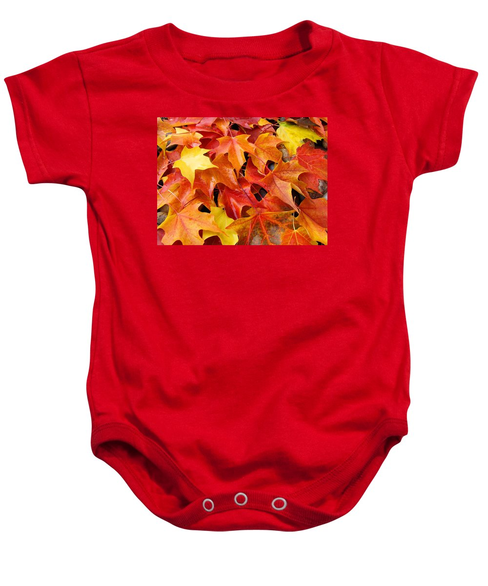 Landscape Baby Onesie featuring the photograph Fall Art Prints Red Orange Yellow Autumn Leaves Baslee Troutman by Baslee Troutman