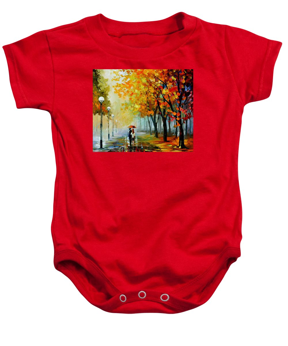 Afremov Baby Onesie featuring the painting Fall Drizzle by Leonid Afremov