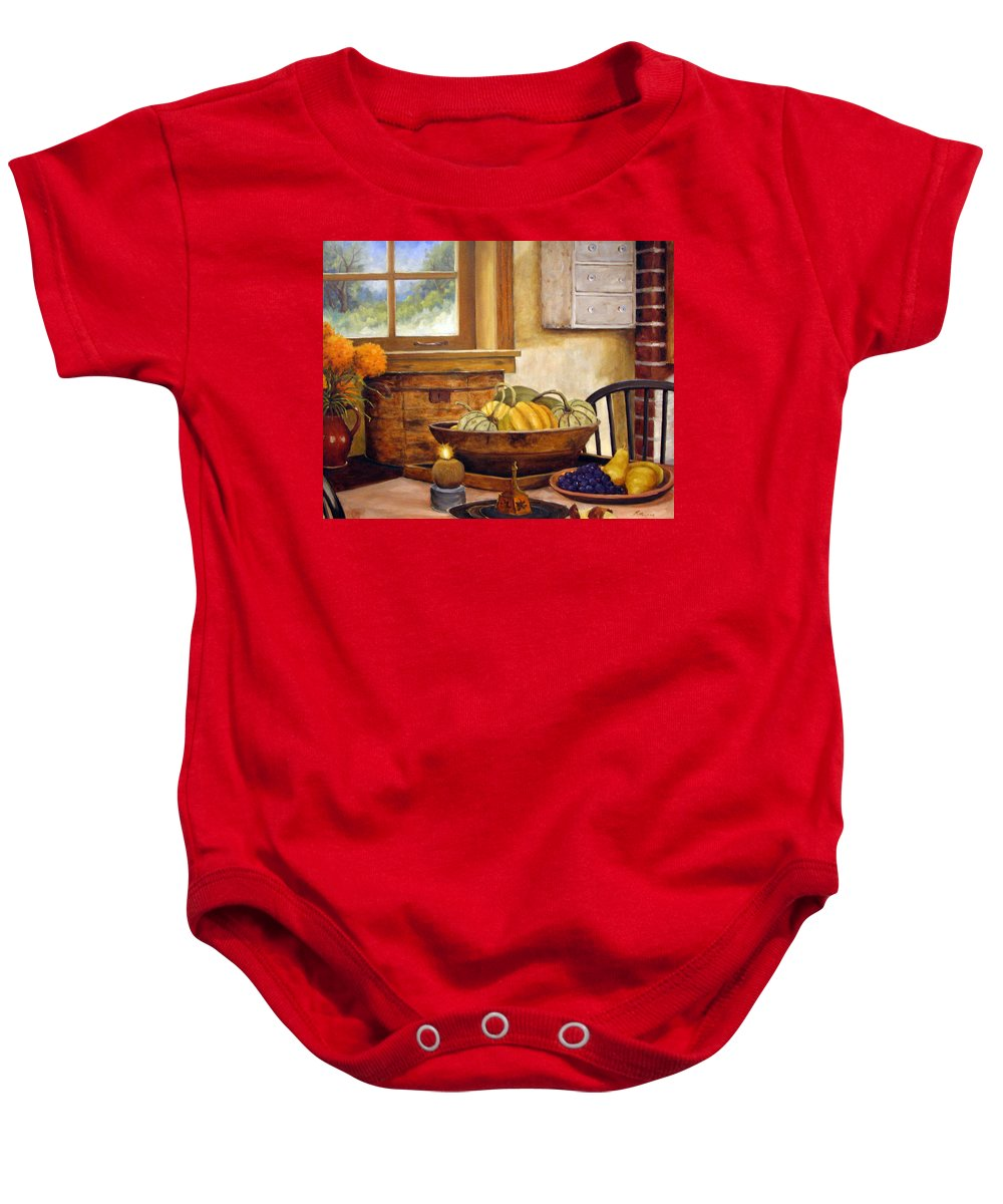 Fall Baby Onesie featuring the painting Fall Harvest by Richard T Pranke