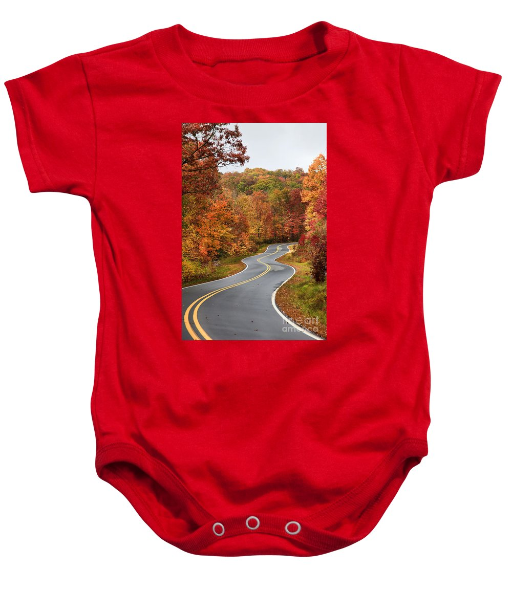 Paved Baby Onesie featuring the photograph Fall Mountain Road by Jill Lang