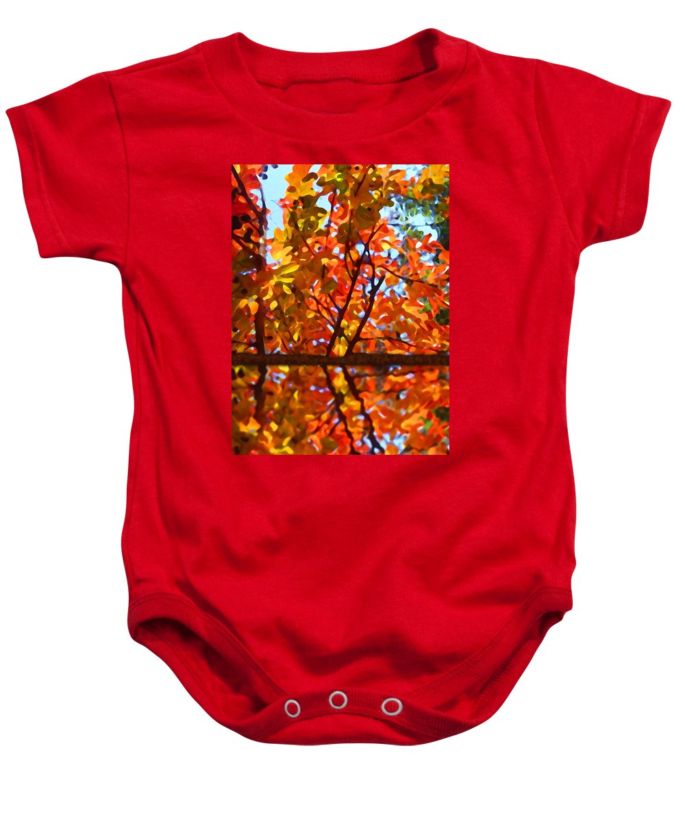 Trees Baby Onesie featuring the painting Fall Reflextion by Amy Vangsgard
