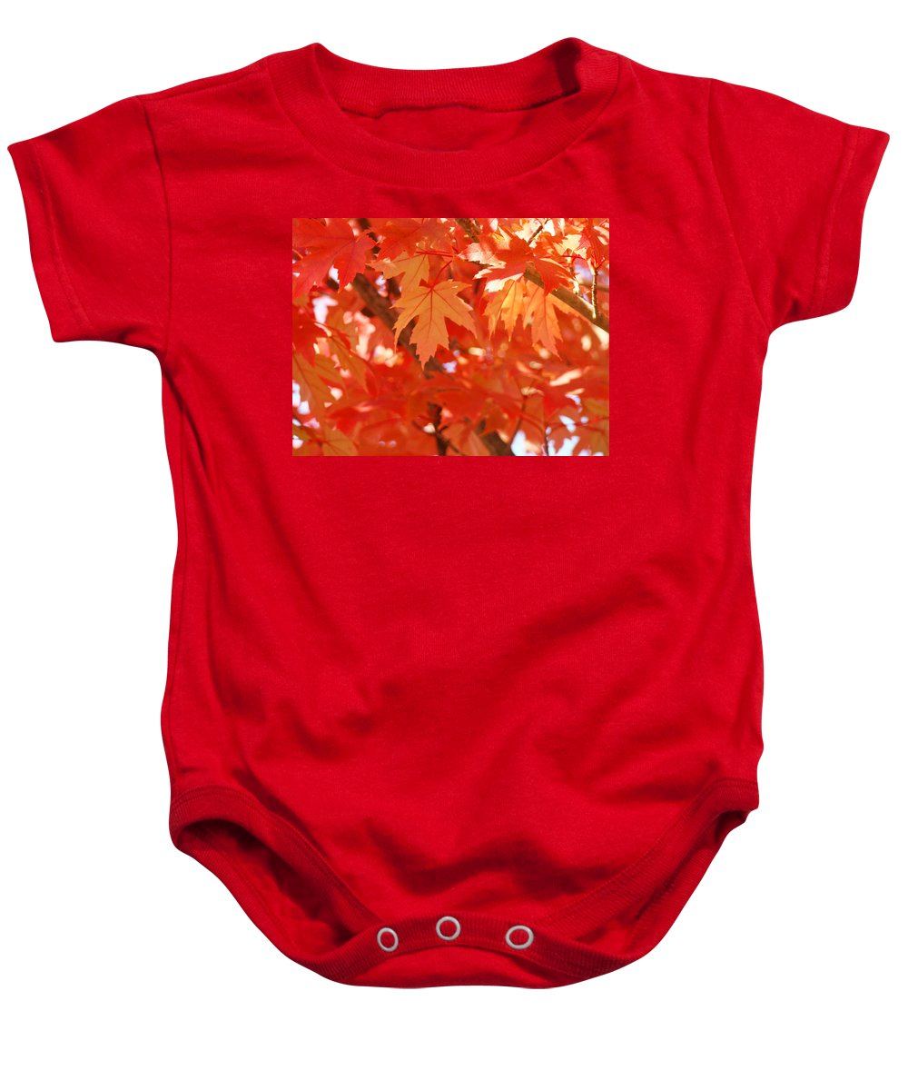 Autumn Baby Onesie featuring the photograph Fall Tree Art Autumn Leaves Red Orange Baslee Troutman by Baslee Troutman