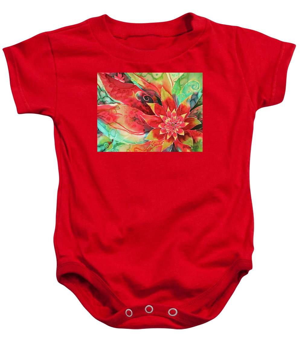 Abstract Baby Onesie featuring the painting Falling Flower by Deborah Younglao