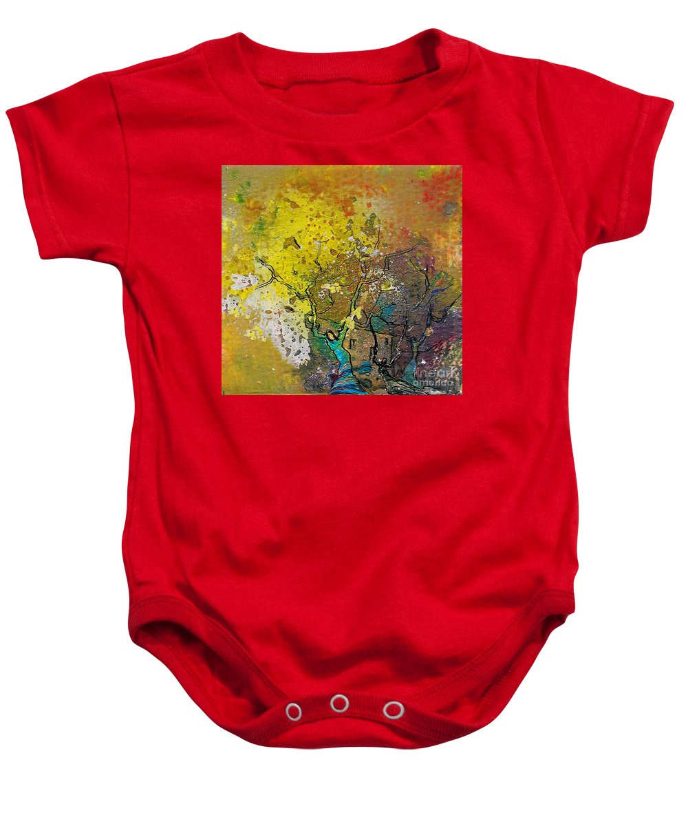 Miki Baby Onesie featuring the painting Fantaspray 13 1 by Miki De Goodaboom
