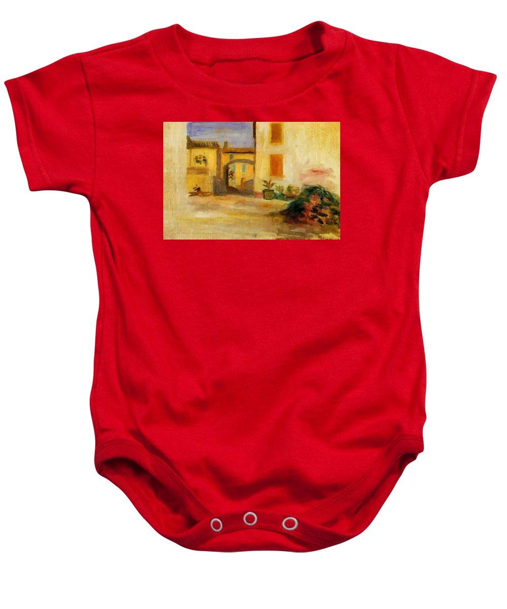 Farm Baby Onesie featuring the painting Farm Courtyard by Renoir PierreAuguste
