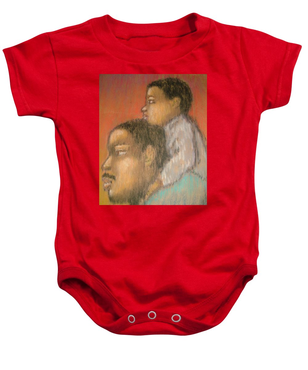 Baby Onesie featuring the drawing Father And Son by Jan Gilmore