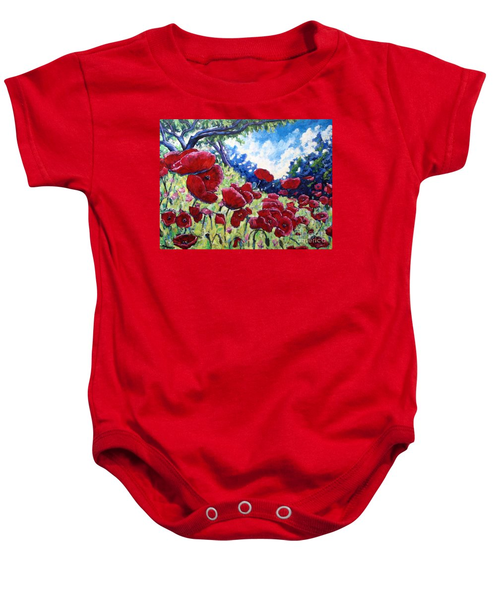 Poppies Baby Onesie featuring the painting Field Of Poppies 02 by Richard T Pranke