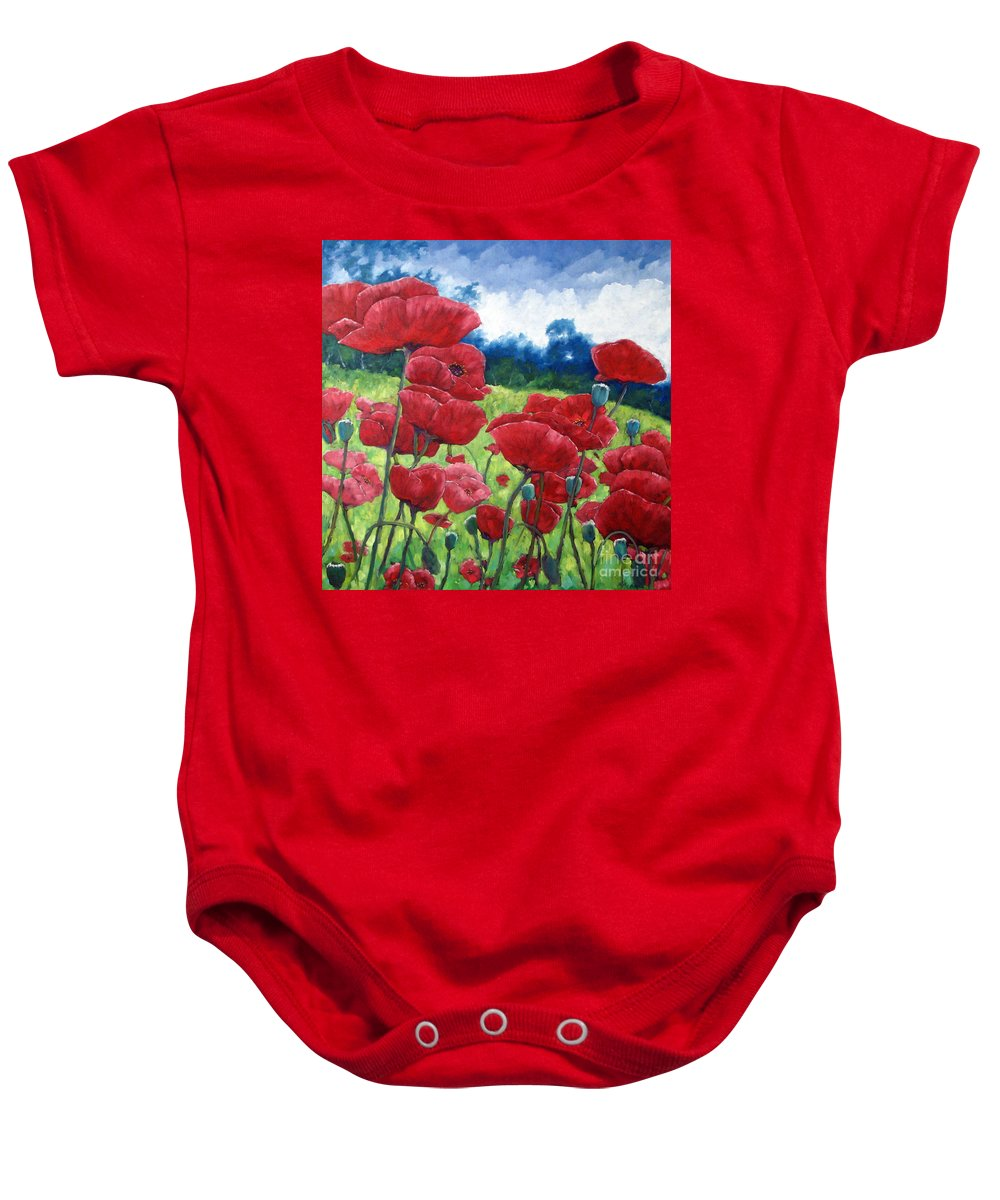 Poppies Baby Onesie featuring the painting Field Of Poppies by Richard T Pranke