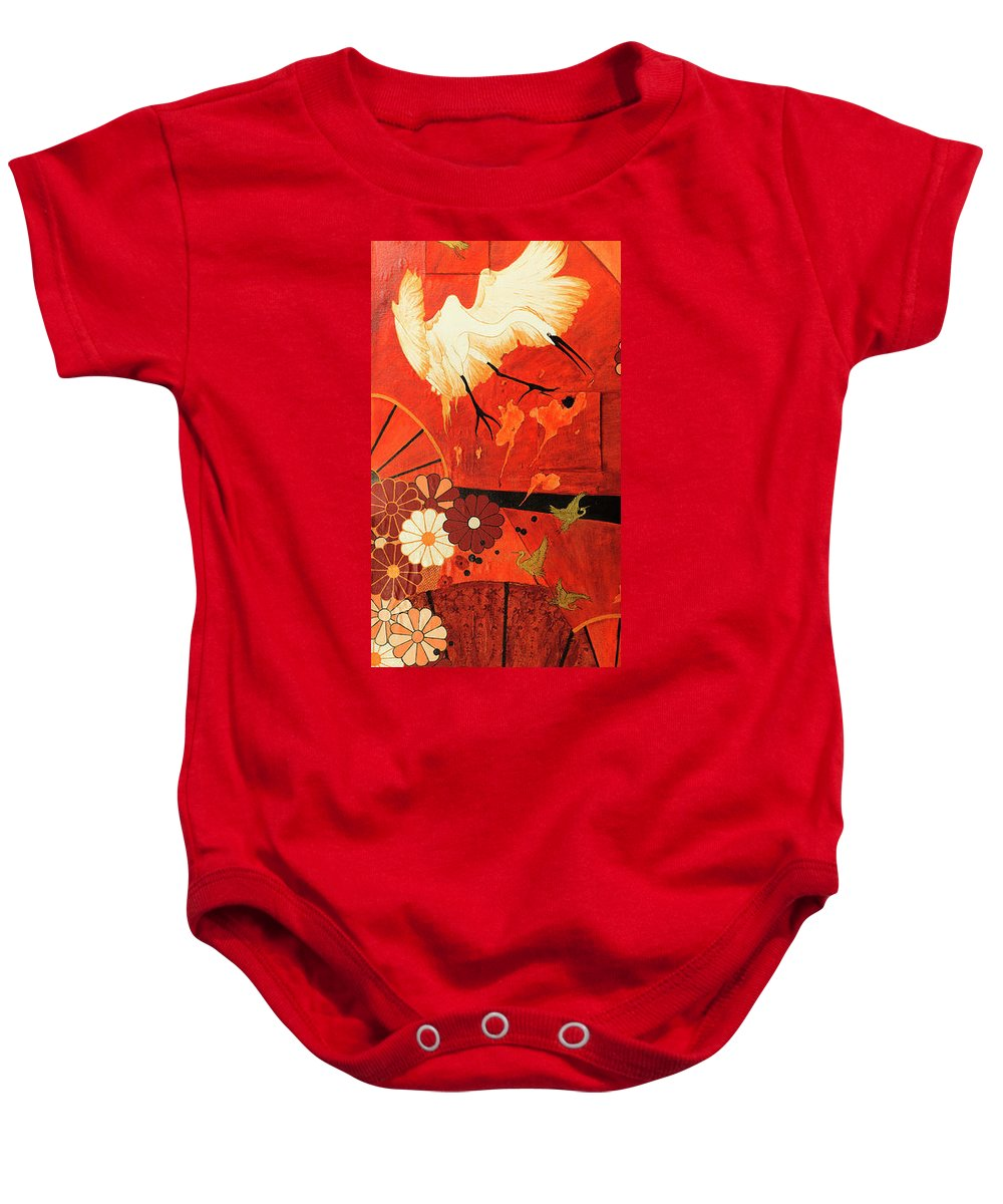 Lhs Screen Of A Diptych Baby Onesie featuring the painting Fighting Crane 1 by Beryl Noyce