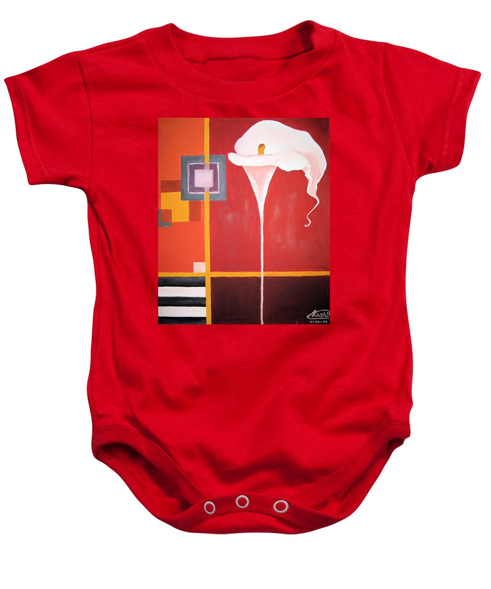 Flower Baby Onesie featuring the painting Figurativ Flower by Alban Dizdari