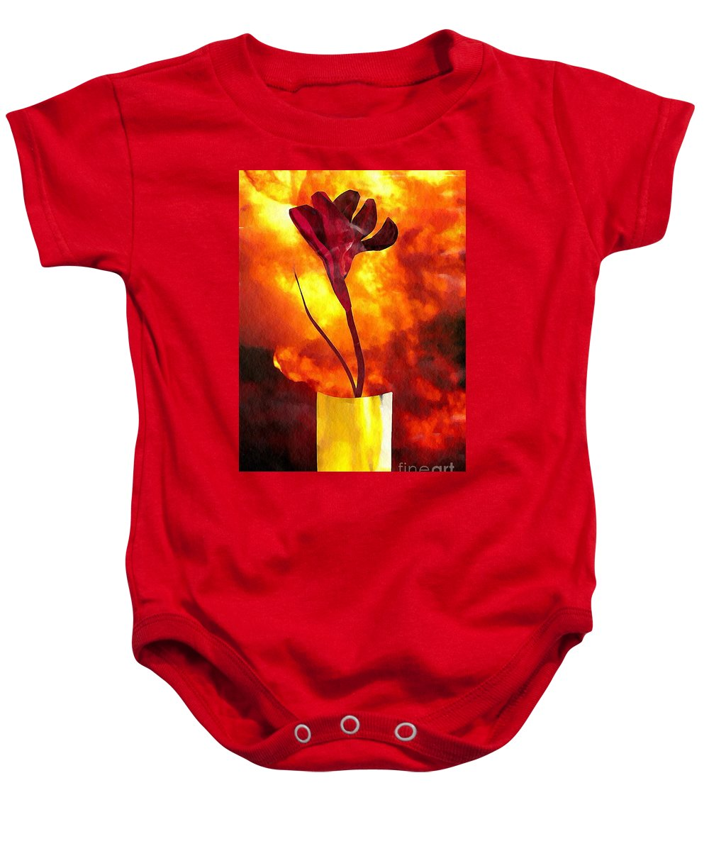 Floral Baby Onesie featuring the mixed media Fire And Flower by Sarah Loft