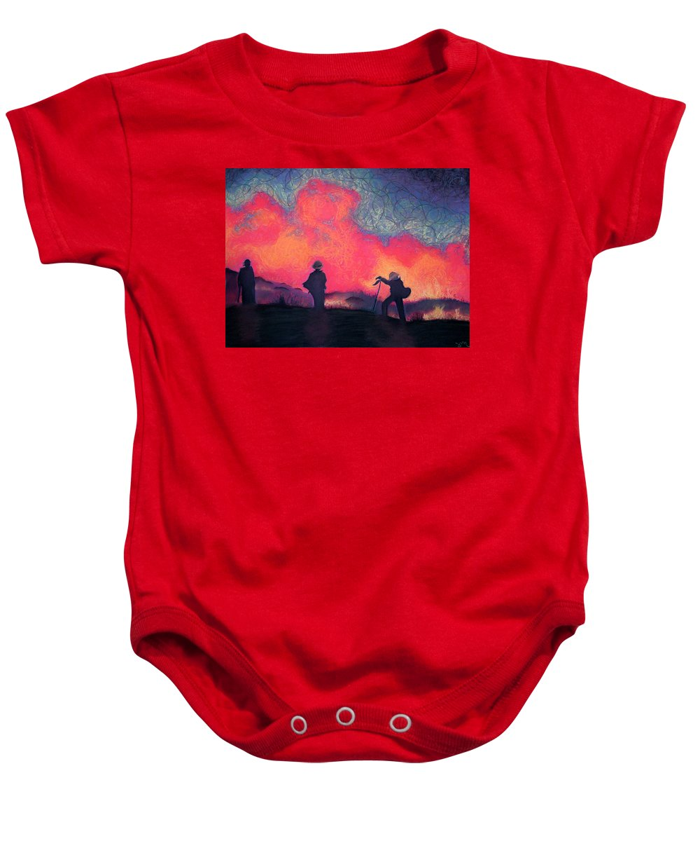 Fire Crews Baby Onesie featuring the drawing Fire Crew by Joshua Morton