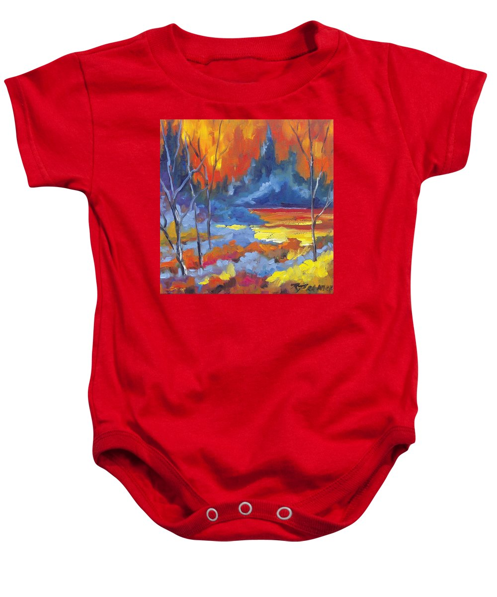 Art Baby Onesie featuring the painting Fire Lake by Richard T Pranke