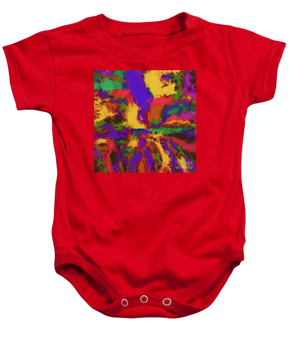 First Moment Baby Onesie featuring the digital art First Moment by Keith Mills