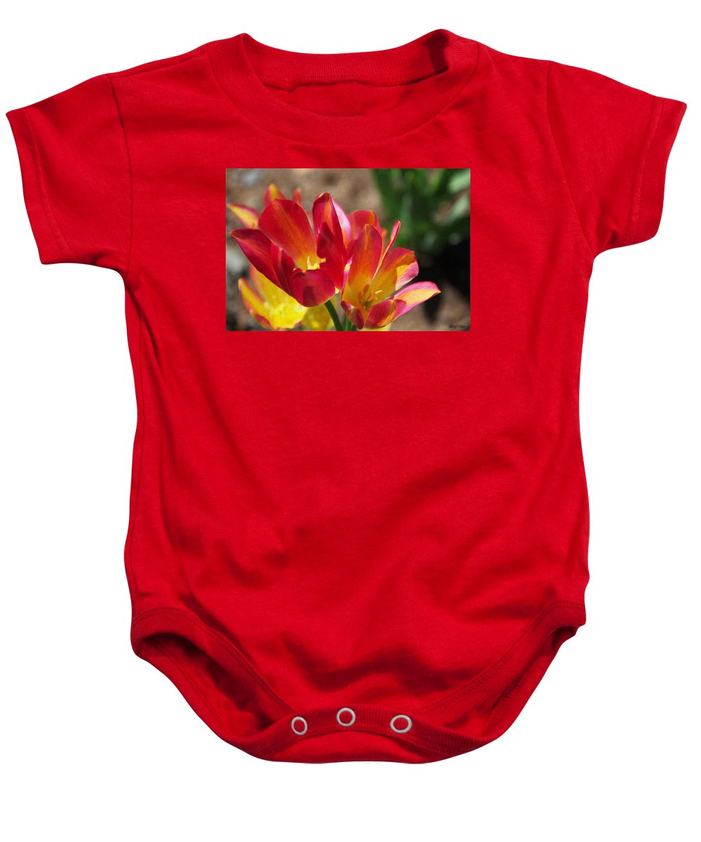 Tulips Baby Onesie featuring the painting Flaming Tulips by Jeffrey Kolker