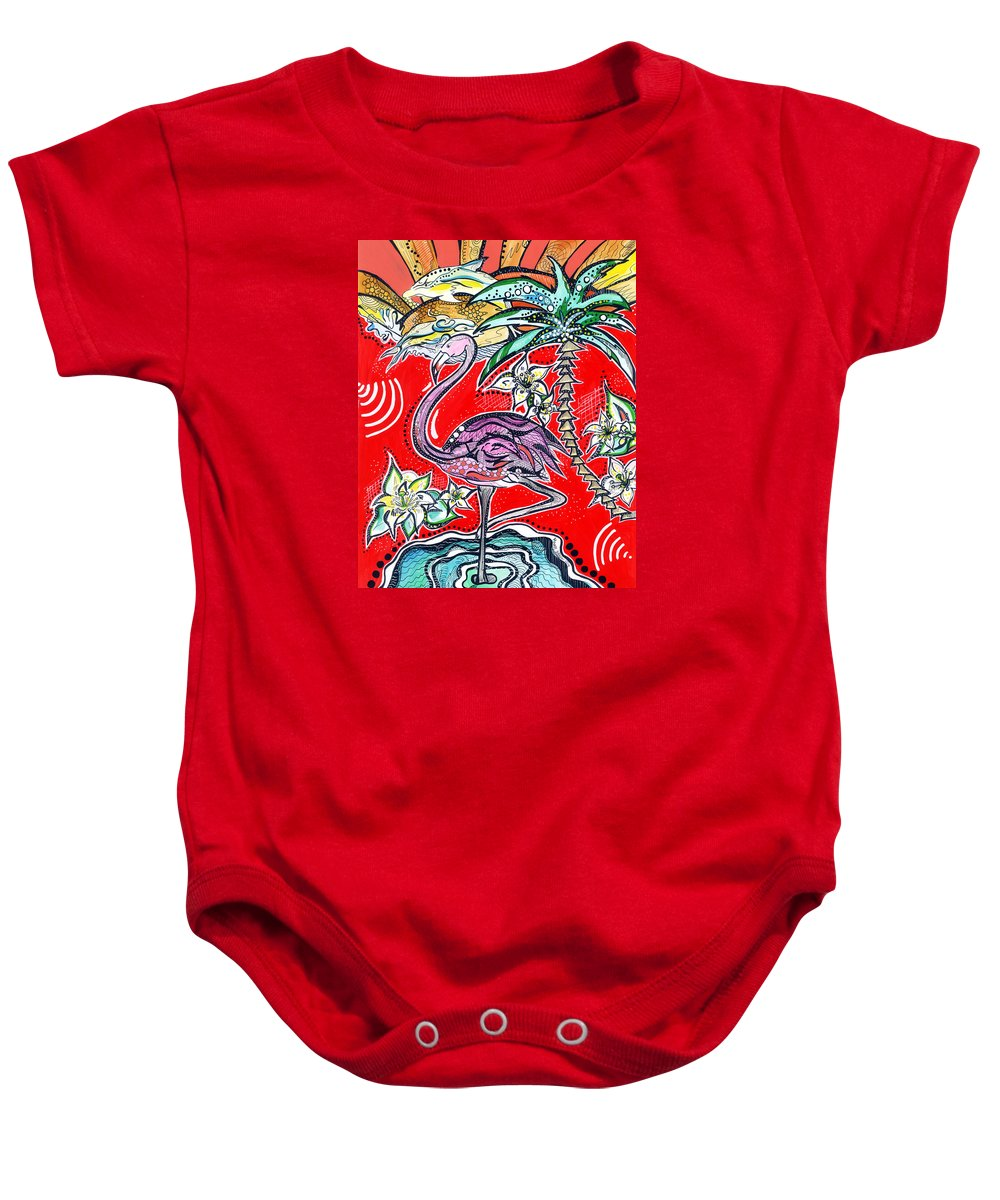 Dolphins Baby Onesie featuring the mixed media Flamingo by Mandy Brasa