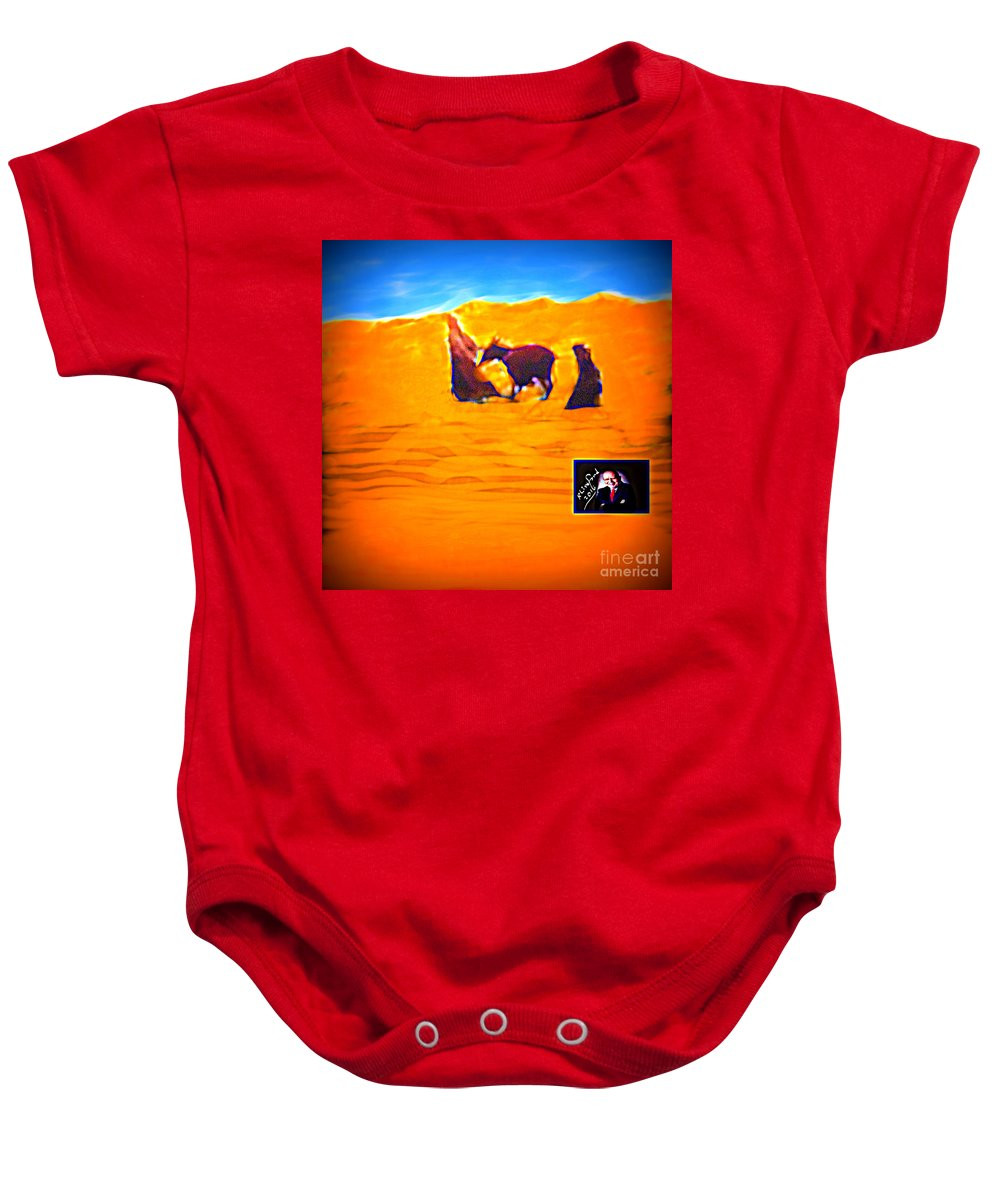 Mary Baby Onesie featuring the digital art Flight Into Egypt by Richard W Linford