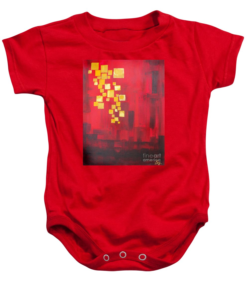 Floating Lights Baby Onesie featuring the painting Floating Lights by Prajakta P