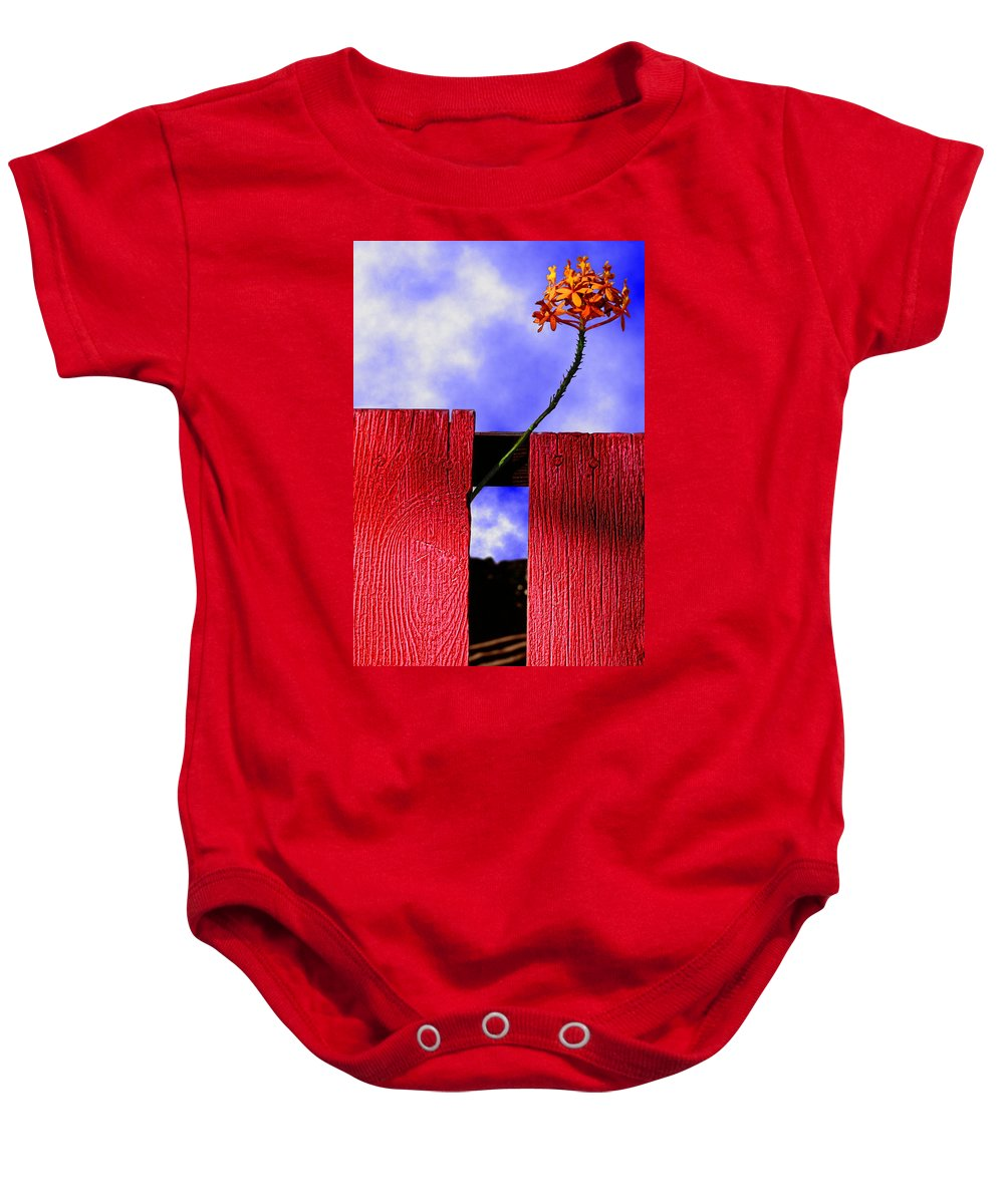 Photography Baby Onesie featuring the photograph Flora And The Red Fence by Paul Wear