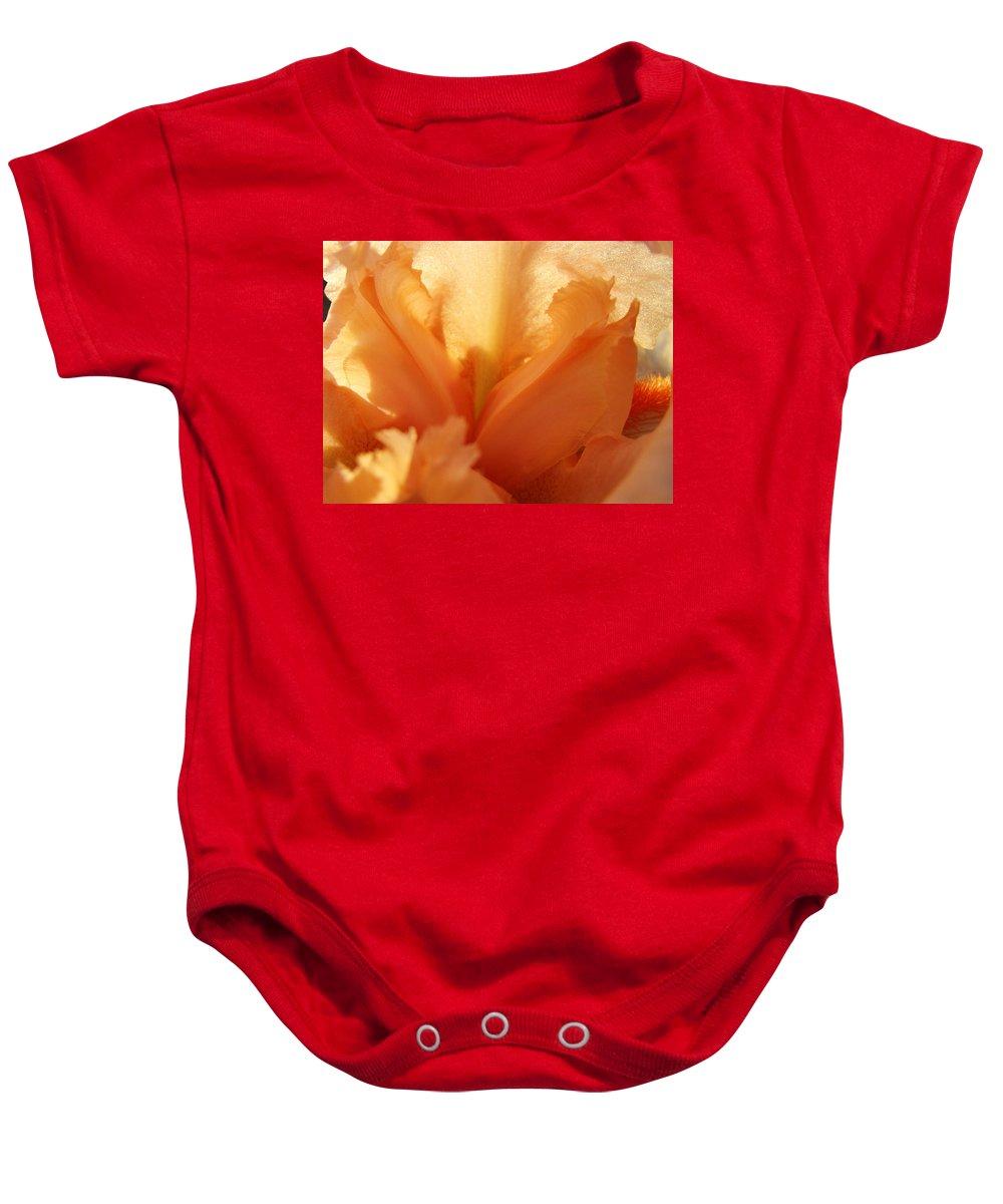 Iris Baby Onesie featuring the photograph Floral Art Orange Iris Flower Sunlit Baslee Troutman by Baslee Troutman