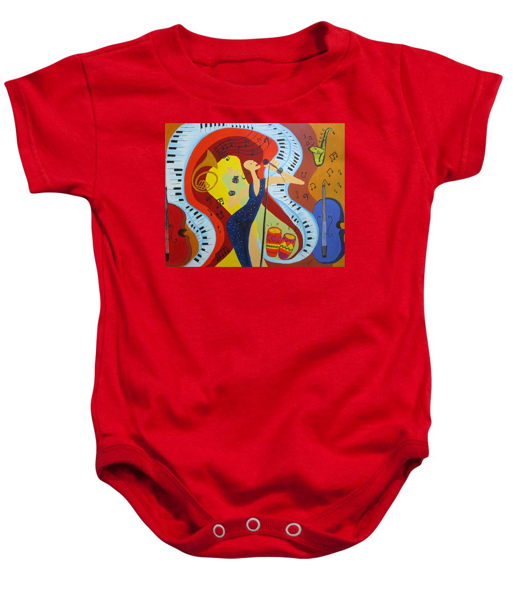 Music Baby Onesie featuring the painting Flow by Mya Soliman