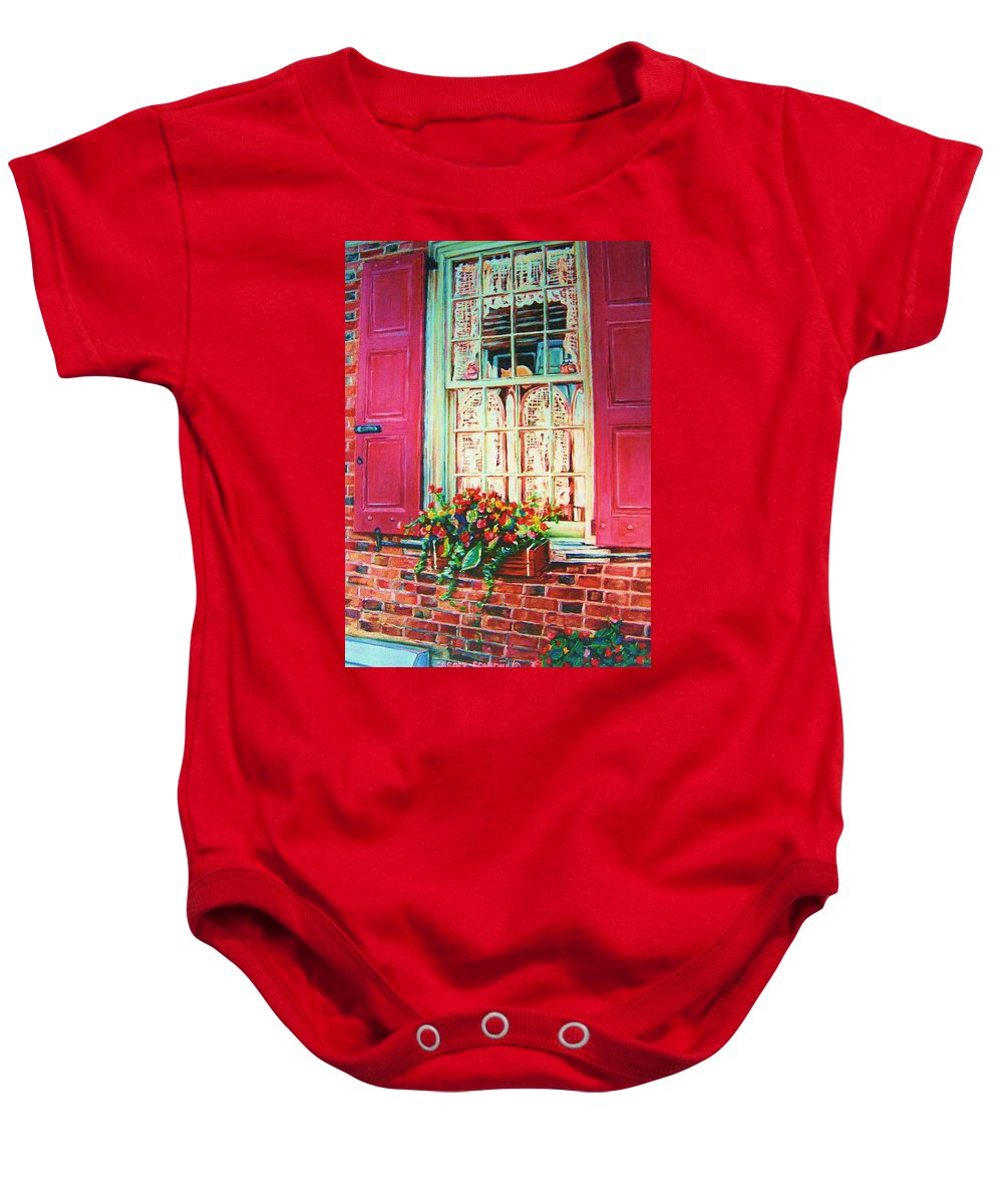 Flower Box Baby Onesie featuring the painting Flower Box And Pink Shutters by Carole Spandau