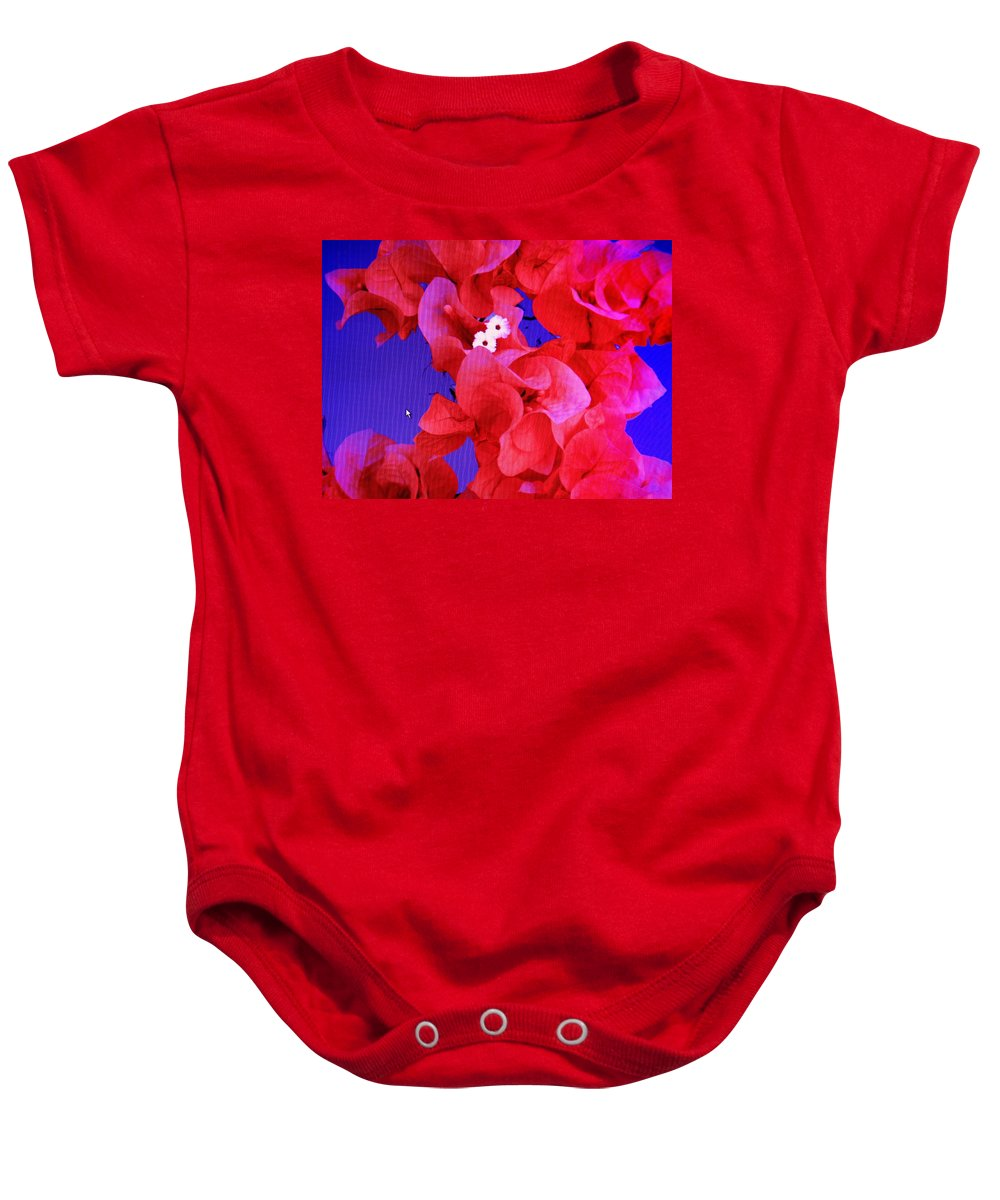 Red Baby Onesie featuring the photograph Flower Fantasy by Ian MacDonald