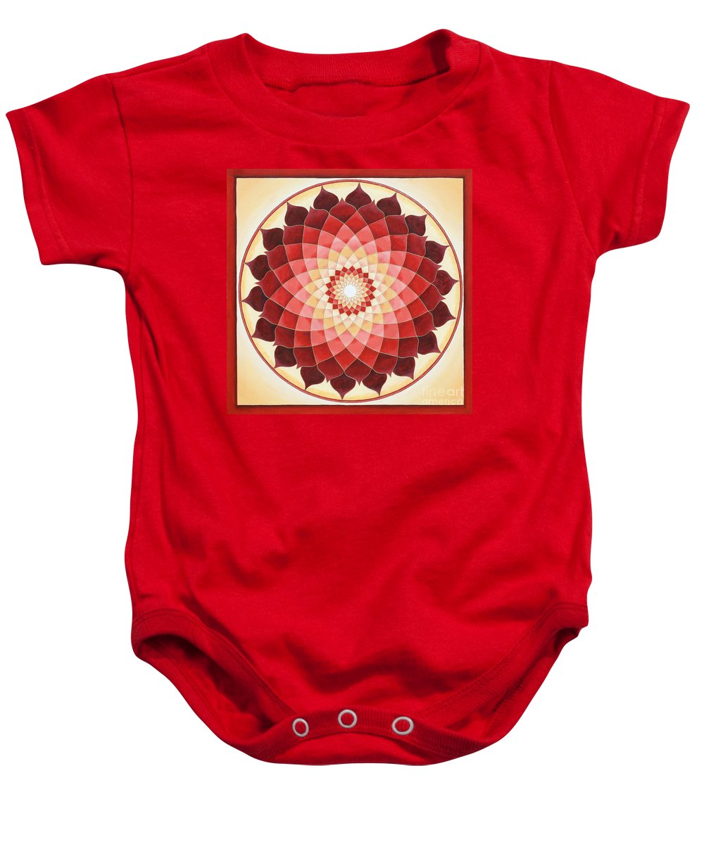 Mandala Baby Onesie featuring the painting Flower Of Life by Charlotte Backman