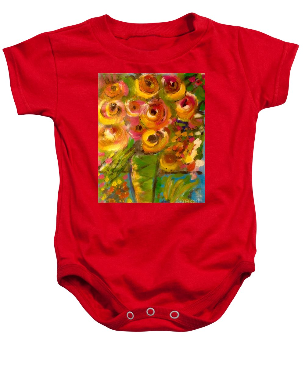 Flowers Baby Onesie featuring the painting Flowers In Window by Daniel Schultz