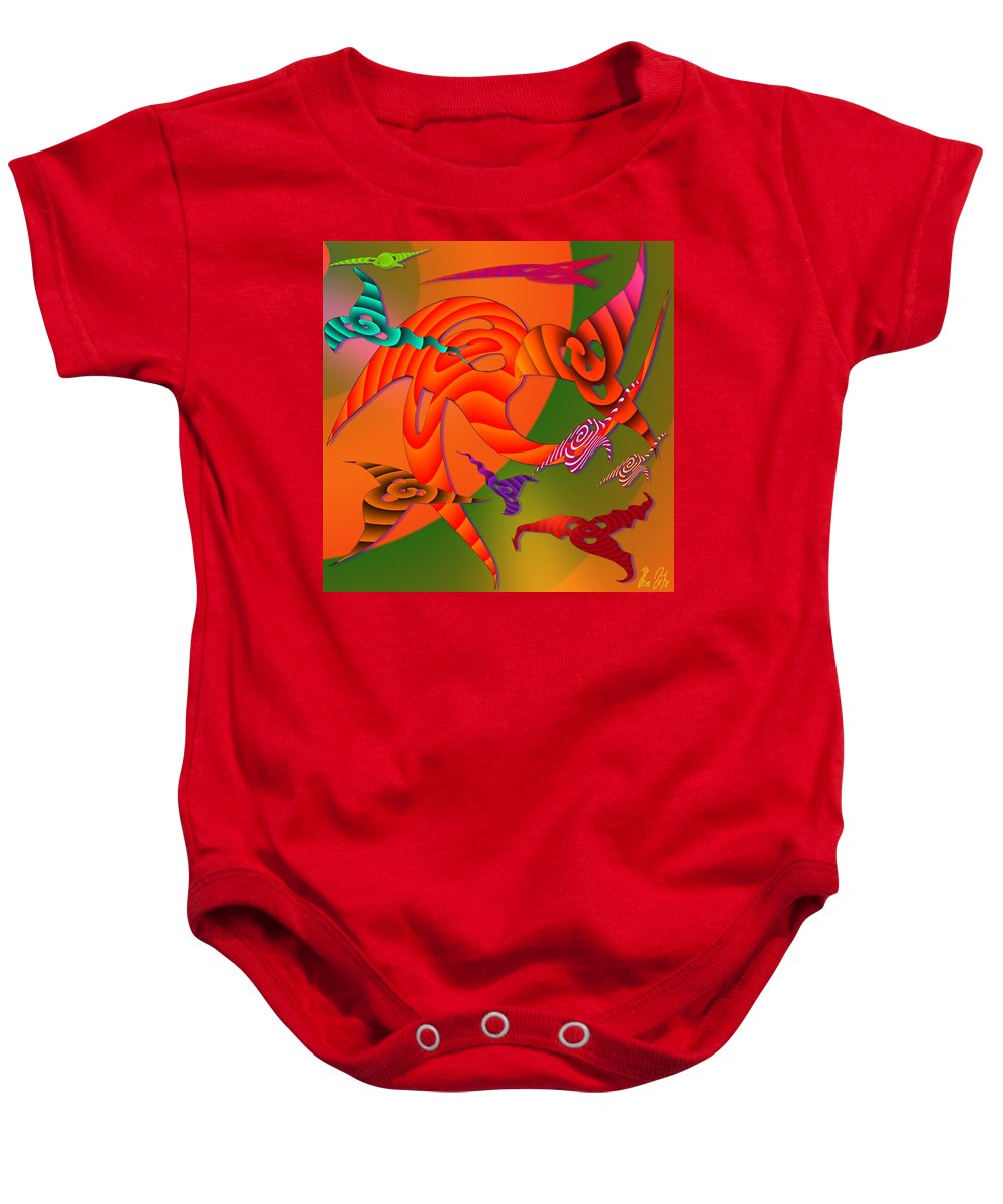 Triangles Baby Onesie featuring the digital art Flying Triangles by Helmut Rottler