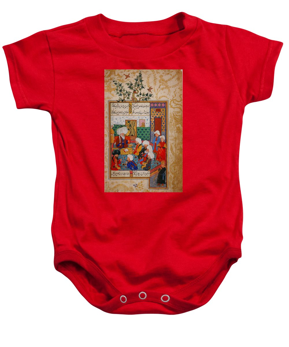 The Great Abu Sa'ud Teaching Law Baby Onesie featuring the painting Folio From A Divan Of Mahmud by Eastern Accent