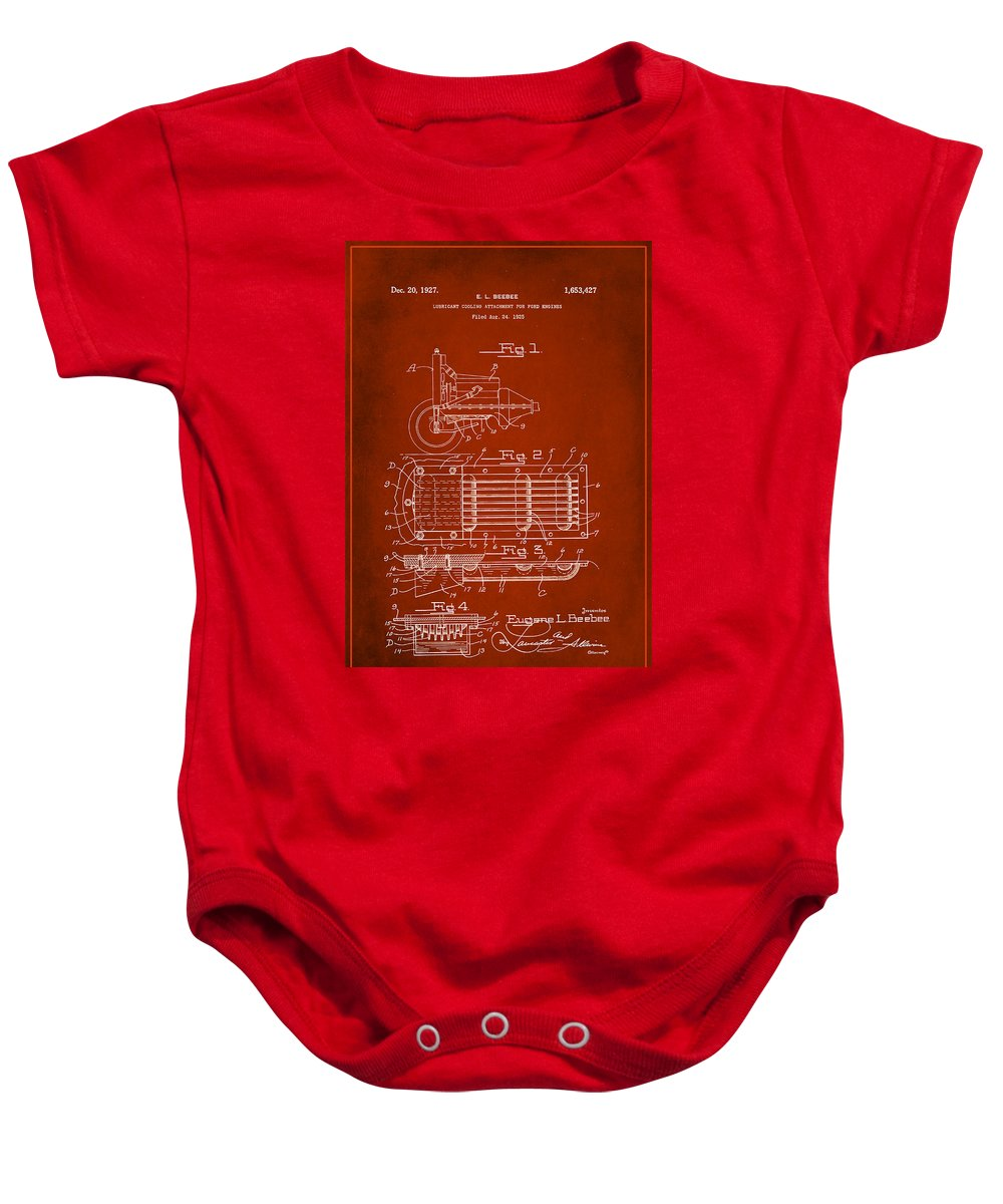 Patent Baby Onesie featuring the mixed media Ford Engine Lubricant Cooling Attachment Patent Drawing 1g by Brian Reaves