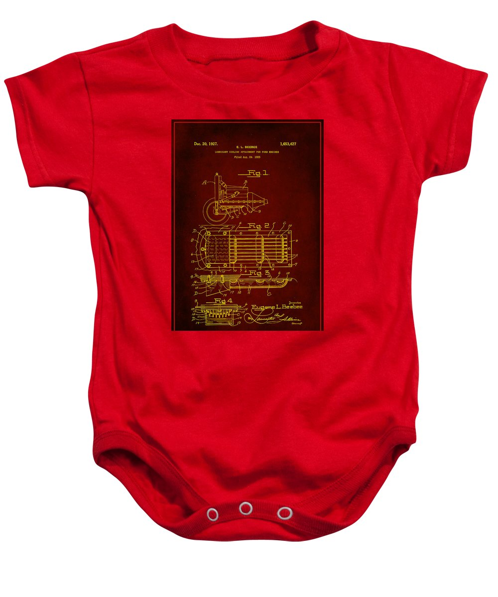 Patent Baby Onesie featuring the mixed media Ford Engine Lubricant Cooling Attachment Patent Drawing 1h by Brian Reaves