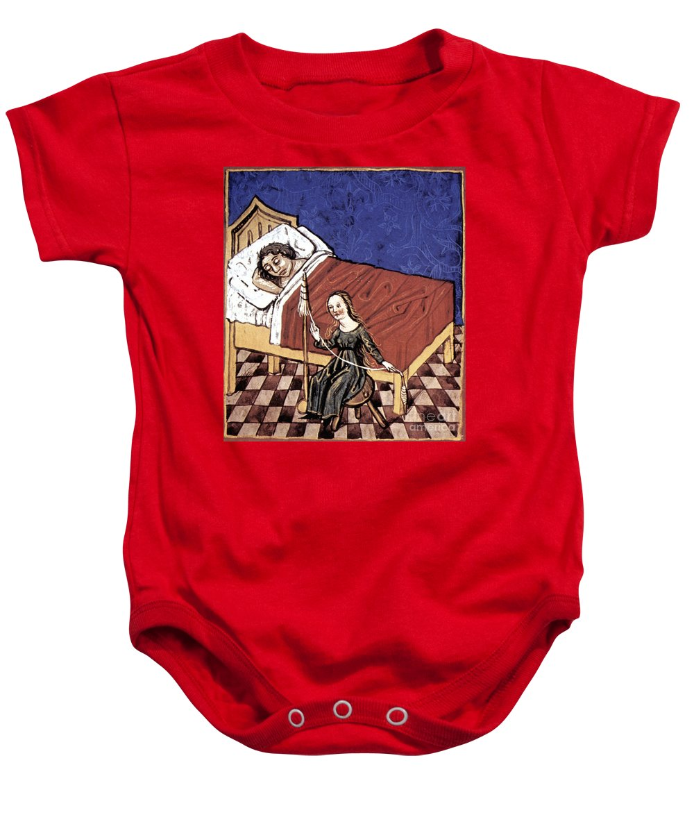 Bed Baby Onesie featuring the photograph Four Humors: Melancholia by Granger